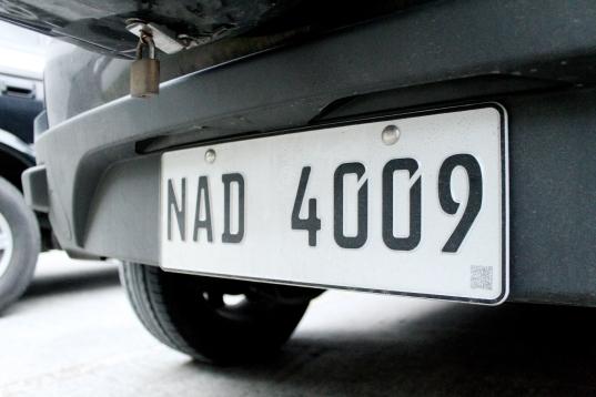 Rear license plate
